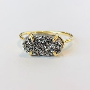 Jewelry - Petite Platinum Drusy and 18k Gold Ring Size 8